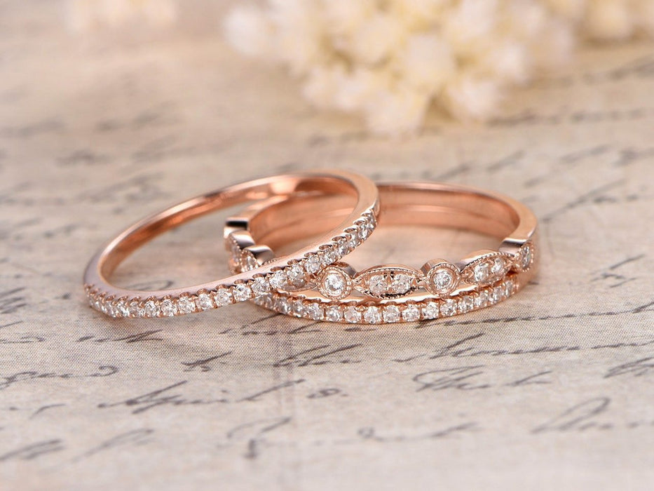 0.75 Carat Round cut Diamond Trio Wedding Ring Band set for Her in Rose Gold