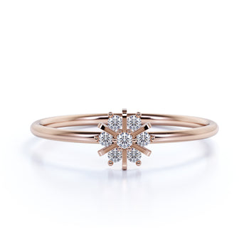 Dainty Snowflake Shaped Stacking Mini Ring with Round Diamonds in Rose Gold