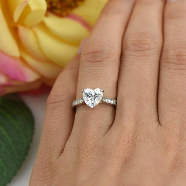 2 Carat Heart Cut Solitaire Engagement Ring in White Gold over Sterling Silver