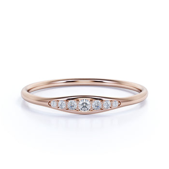 6 Stone Graduated Diamond Stacking Ring in Rose Gold