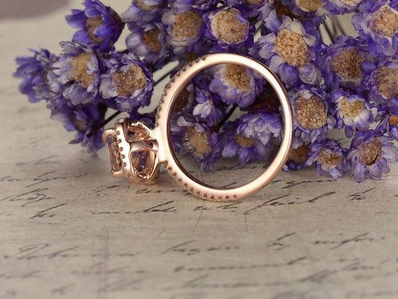1.50 Carat Emerald Cut Morganite and Diamond Engagement Ring in Rose Gold