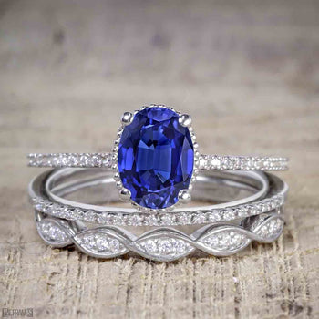 1.50 Carat Oval Cut Sapphire and Diamond Solitaire Trio Wedding Bridal Ring Set in White Gold
