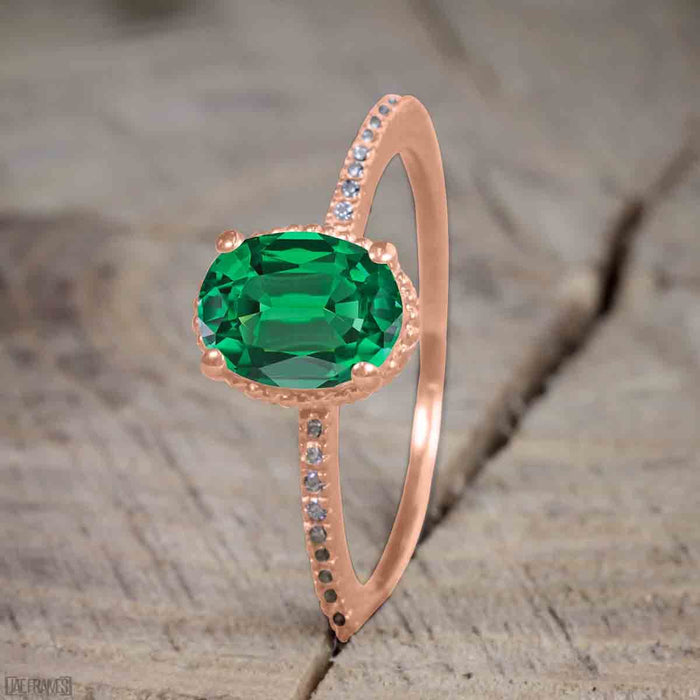 Beautiful 1 Carat Oval Cut Emerald Solitaire Engagement Ring For Women Kisnagems Co Uk
