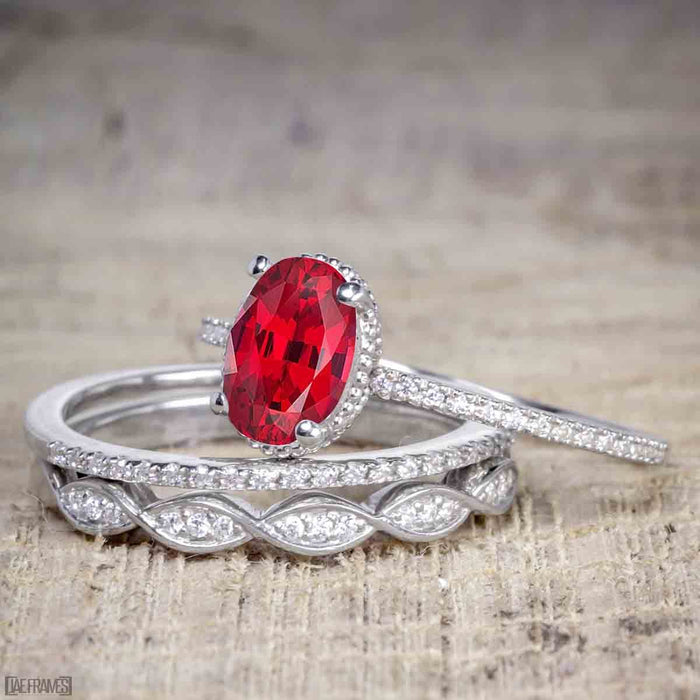 1.50 Carat Oval cut Ruby and Diamond Solitaire Trio Wedding Bridal Ring Set in White Gold