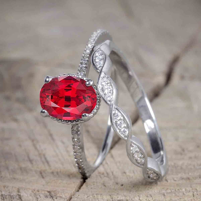 Vintage Design 1.5 Carat Oval Cut Ruby and Diamond Wedding Set for Women in White Gold