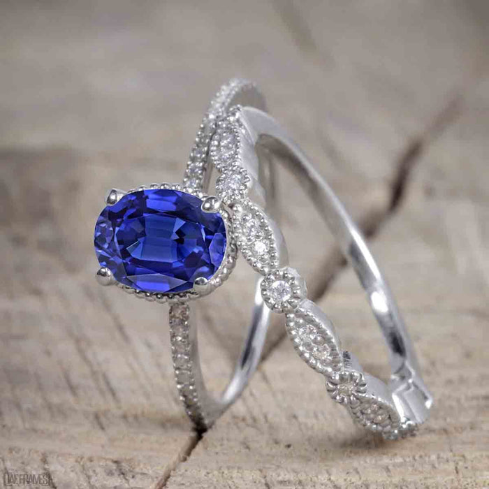 1.50 Carat Oval Cut Sapphire and Diamond Trio Wedding Ring Set for Women in White Gold