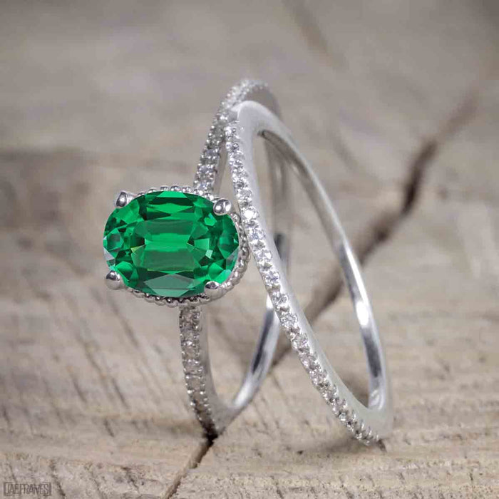Bestselling 1.50 Carat Oval cut Wedding Ring Set with Emerald and Diamond for Women in White Gold