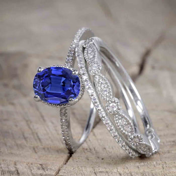 Unique 1.50 Carat Oval Cut Sapphire and Diamond Trio Wedding Ring Set in White Gold for Her