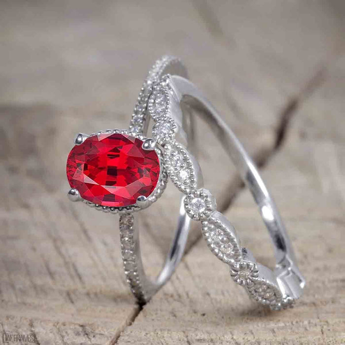 Unique 1.50 Carat Oval cut Ruby and Diamond Trio Wedding Ring Set in White Gold for Her
