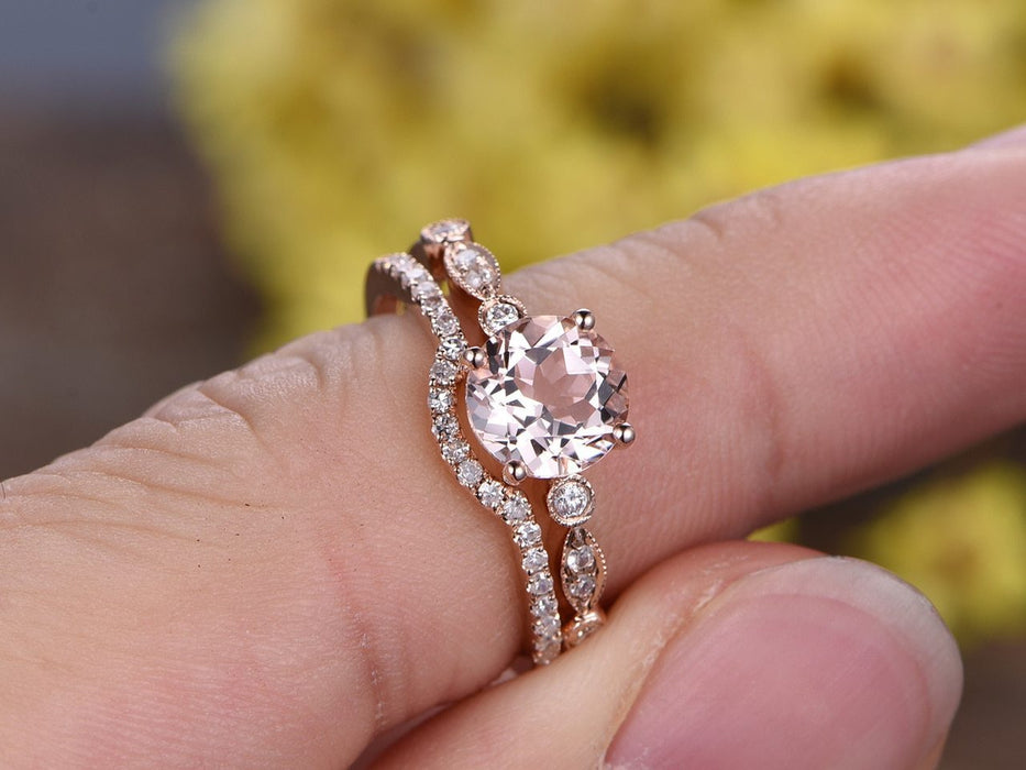 Perfect 1.50 Carat Round Cut Morganite and Diamond Wedding Ring Set in Rose Gold