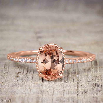 1.25 Carat Oval Cut Morganite Solitaire Engagement Ring in Rose Gold