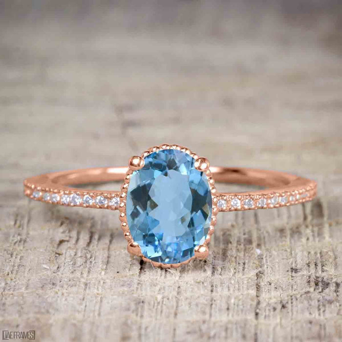 Perfect 1.25 Carat Oval Cut Aquamarine and Diamond Bridal Ring Set in Rose Gold