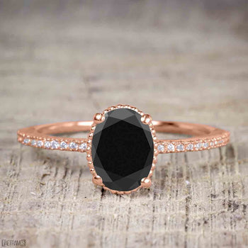 1.25 Carat Oval Cut Black Diamond Solitaire Engagement Ring in Rose Gold