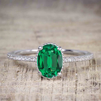 1 Carat Oval Cut Emerald Solitaire Engagement Ring in White Gold