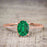Perfect 1.25 Carat Oval cut Emerald and Diamond Bridal Ring Set in Rose Gold