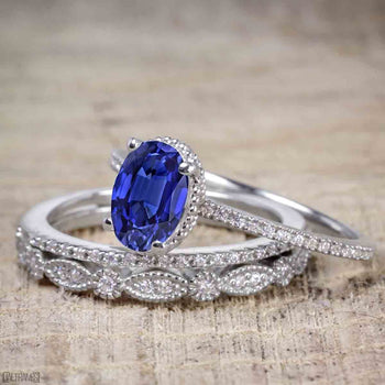 Unique 1.50 Carat Oval Cut Sapphire and Diamond Trio Wedding Ring Set in White Gold