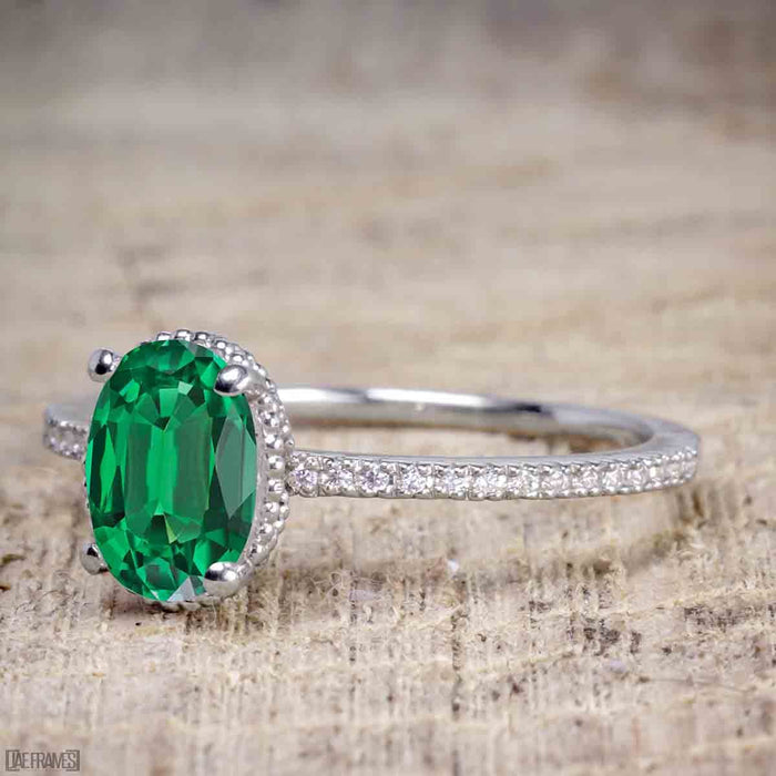 Perfect 1.25 Carat Oval cut Emerald and Diamond Bridal Ring Set in White Gold