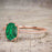 1.50 Carat Oval cut Emerald and Diamond Solitaire Trio Wedding Bridal Ring Set in Rose Gold