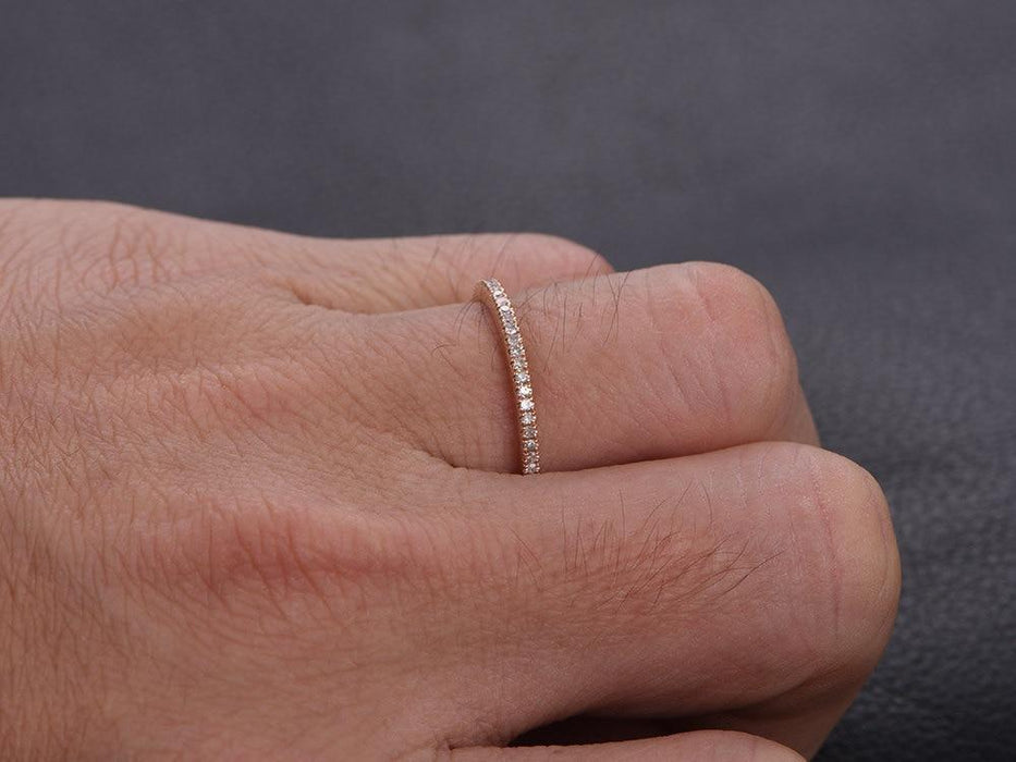 .35 Carat Semi Eternity Round Cut Diamond Wedding Ring band in Rose Gold