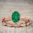 1.25 Carat Oval cut Emerald and Diamond Wedding Ring Set in Rose Gold
