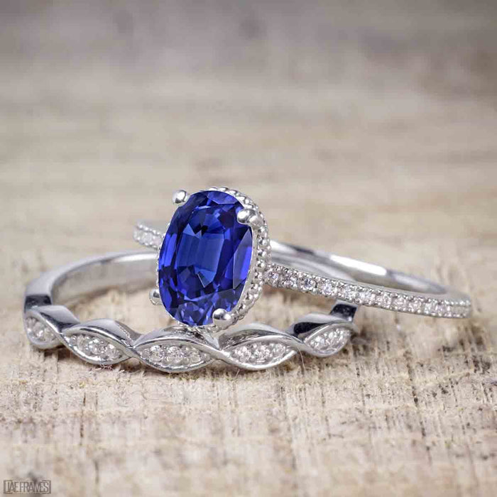 1.25 Carat Oval Cut Sapphire and Diamond Wedding Ring Set in White Gold