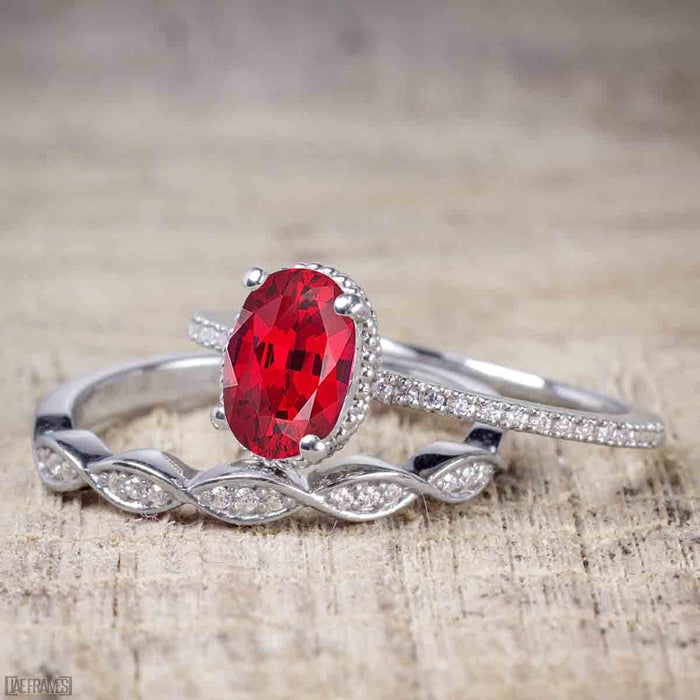 1.25 Carat Oval cut Ruby and Diamond Wedding Ring Set in White Gold