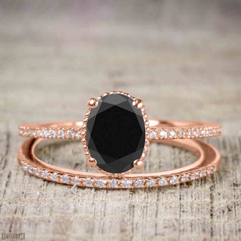 Perfect 1.50 Carat Oval Cut Black Diamond Bridal Ring Set in Rose Gold
