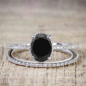 Perfect 1.50 Carat Oval Cut Black Diamond Bridal Ring Set in White Gold