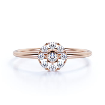 Beautiful 9 Stone Mini Stacking Ring with Round Diamonds in Rose Gold