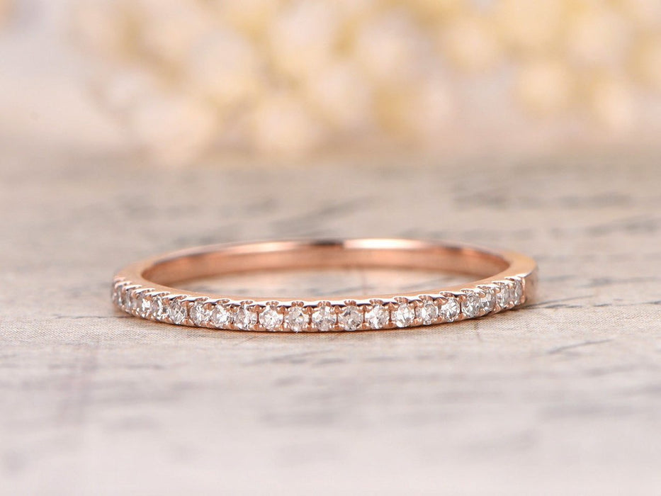 .25 Carat Semi Eternity Wedding Ring Band for Women in Rose Gold