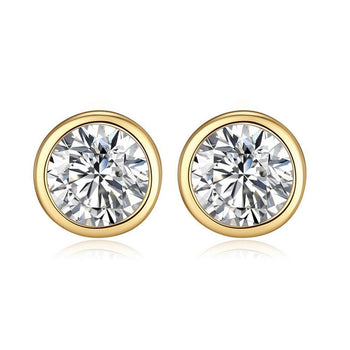 2 Carat Round Cut Moissanite Bezel Stud Earrings in Yellow Gold