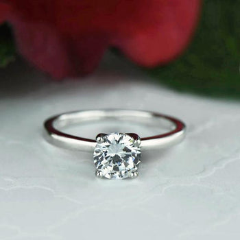 1 Carat Round Cut Solitaire Engagement Ring in White Gold over Sterling Silver