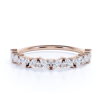 Semi Eternity Stackable Ring with Marquise and Round Cut Diamonds in Rose Gold