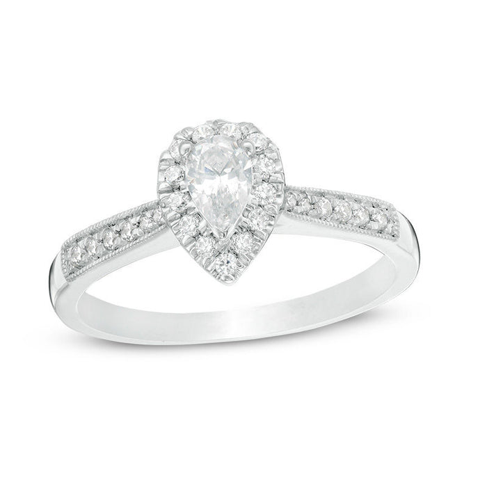1/2 CT.T.W. Pear-Shaped Diamond Vintage-Style Engagement Ring in White Gold