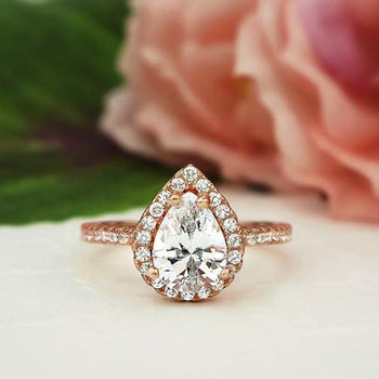 1.5 Carat Pear Cut Halo Engagement Ring in Rose Gold over Sterling Silver