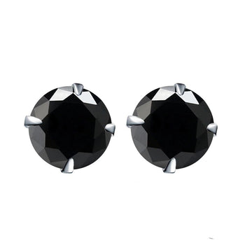 3 Carat Round Cut Black Diamond Solitaire Stud Earrings in White Gold