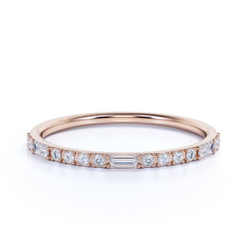 Semi Eternity Stacking Ring with Emerald and Round Cut Diamonds in Rose Gold