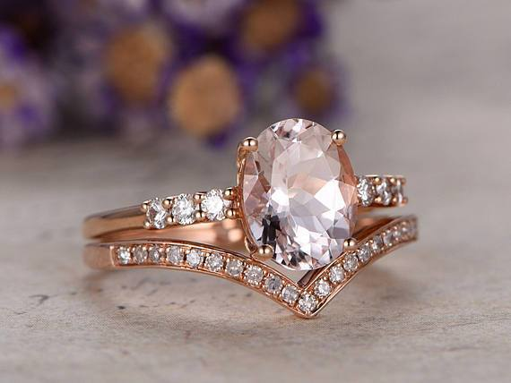 Perfect Pairing 1.50 Carat Oval Cut Morganite and Diamond Wedding Set in Rose Gold