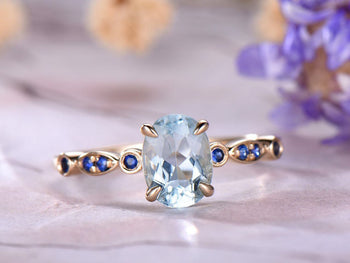 1.25 Carat Oval Cut Aquamarine and Sapphire Engagement Ring in Rose Gold