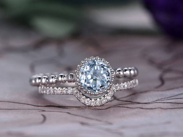 Unique 1.25 Carat Round Cut Aquamarine and Diamond Wedding Set in Rose Gold
