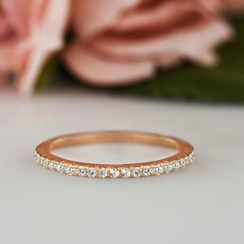 0.25 Half Eternity Wedding Band in Rose Gold over Sterling Silver