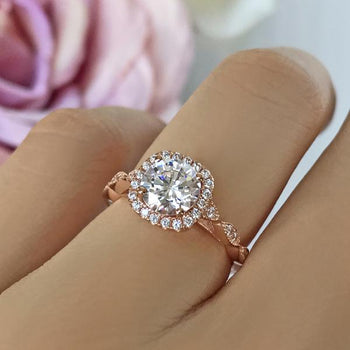 1.5 Carat Round Cut Halo Art Deco Engagement Ring in Rose Gold over Sterling Silver