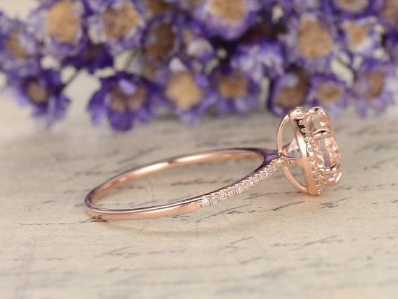 1.25 Carat Round Cut Halo Morganite and Diamond Engagement Ring in Rose Gold