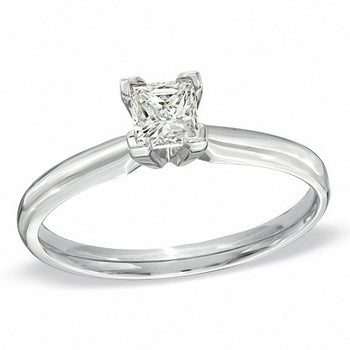 2/5 CT.T.W. Princess Cut Diamond Aesthetic Engagement Ring in White Gold
