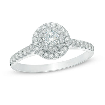 1/2 CT.T.W. Round Cut Diamond Double Halo Engagement Ring in White Gold