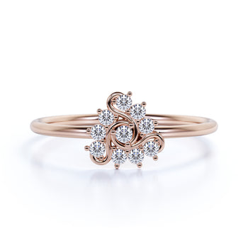 Elegant Diamond Stacking Wedding Ring with Round Shape Diamonds in Rose Gold