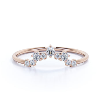 Delicate Prong Set Round Cut Diamonds Chevron Stacking Ring in Rose Gold