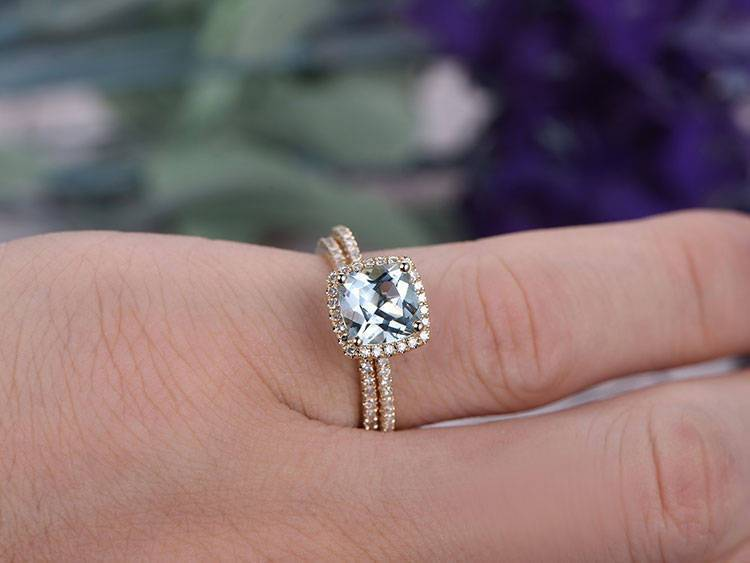 1.50 Carat Princess Cut Aquamarine and Diamond Wedding Set in Yellow Gold