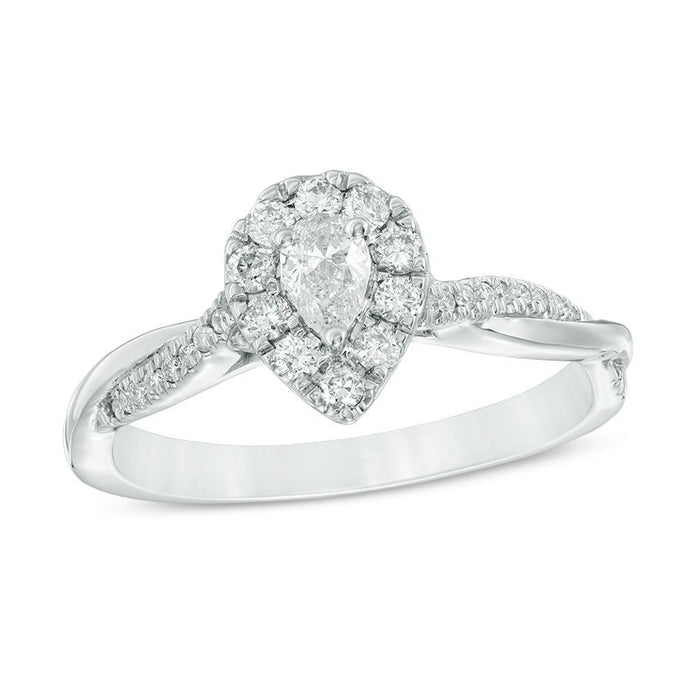 Venerable 1/2 CT. T. W. Pear Cut Halo Twist Engagement Ring in White Gold
