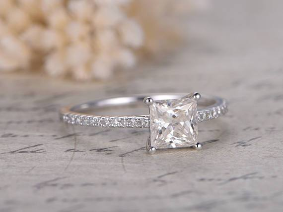 1.25 Carat Princess Cut Moissanite and Diamond solitaire Wedding Ring in White Gold
